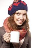 Ritratto della donna con gli accessori di lana Fotografie Stock