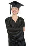 Ritratto della donna felice dell'allievo di graduazione Fotografia Stock Libera da Diritti