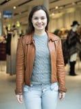 Ritratto della donna felice in deposito Fotografia Stock Libera da Diritti