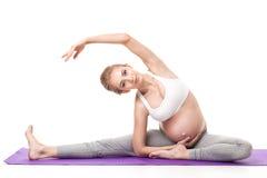 Ritratto della donna incinta che fa yoga Fotografie Stock Libere da Diritti