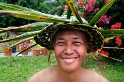 Ritratto della donna matura Aitu di Tahitian dell'isola del Pacifico polinesiana Fotografie Stock