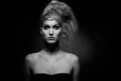 Ritratto della donna nel trucco di Halloween Fotografie Stock