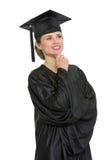 Ritratto della donna premurosa di graduazione isolata Fotografia Stock Libera da Diritti