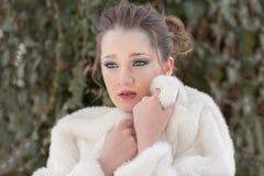 Ritratto della donna, regina della neve Fotografia Stock Libera da Diritti