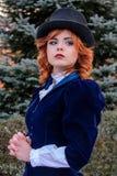 Ritratto della donna romantica in vestito d'annata fotografia stock libera da diritti
