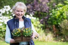 Ritratto della donna senior che lavora nel giardino Immagini Stock