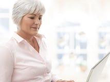 Donna senior sorridente che lavora al computer portatile Immagine Stock