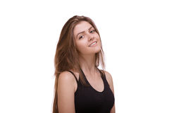 Ritratto della donna sexy con capelli lunghi che posano sul fondo bianco fotografia stock libera da diritti