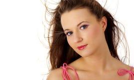 Ritratto della donna sexy sopra priorità bassa bianca Fotografia Stock Libera da Diritti