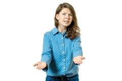 Ritratto della donna sollecitata e frustrata Fotografie Stock