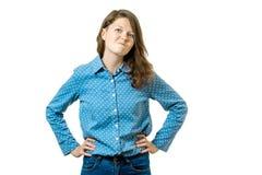 Ritratto della donna sollecitata e frustrata Fotografia Stock