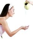 Ritratto della donna sorridente attraente isolata sullo studio bianco SH Fotografia Stock