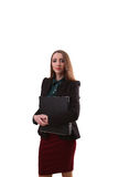 Ritratto della donna sorridente di affari con la cartella di carta, o isolata Fotografia Stock Libera da Diritti