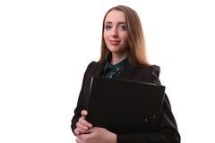 Ritratto della donna sorridente di affari con la cartella di carta, o isolata Fotografie Stock