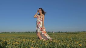 Ritratto della donna sorridente di A che sta nel campo giallo di fioritura di A in un vestito stock footage