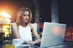 Ritratto della donna splendida della Svezia che si siede con il computer portatile aperto nell'interno moderno della caffetteria Fotografia Stock