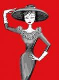 Ritratto della donna su una giovane retro illustrazione di fascino al suolo rossa del modello di moda Fotografia Stock Libera da Diritti