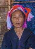Ritratto della donna della tribù di Pao nel Myanmar Fotografia Stock Libera da Diritti