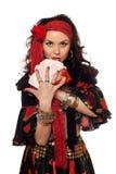 Ritratto della donna zingaresca con le schede Fotografia Stock Libera da Diritti