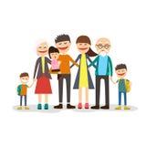 Ritratto della famiglia del fumetto Grande insieme Illustrazione di vettore Fotografie Stock Libere da Diritti