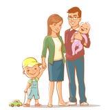 Ritratto della famiglia isolato Immagine Stock