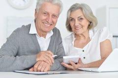 Ritratto della gente senior sorridente che lavora con il computer a casa immagine stock libera da diritti