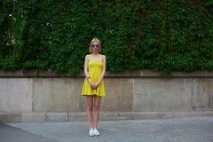 Ritratto della giovane donna adorabile in vestito luminoso da estate che posa sul fondo del recinto della natura in città Fotografia Stock
