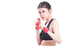 Ritratto della giovane donna che fa esercizio Fotografie Stock