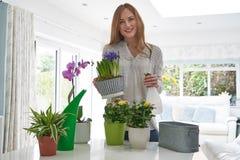Ritratto della giovane donna che si preoccupa per le piante da appartamento all'interno fotografie stock