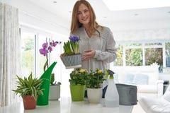 Ritratto della giovane donna che si preoccupa per le piante da appartamento all'interno fotografie stock libere da diritti
