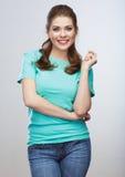 Ritratto della giovane donna di stile casuale Sorriso Toothy Fotografia Stock Libera da Diritti