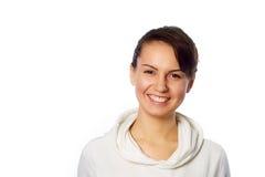 Ritratto della giovane donna isolato su bianco Immagini Stock Libere da Diritti