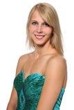 Ritratto della giovane donna in vestito da sera Immagini Stock Libere da Diritti