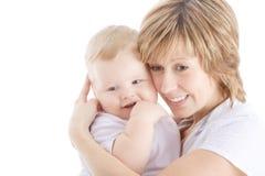 Ritratto della holding della madre il suo figlio immagini stock