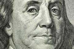 Ritratto della macro di Benjamin Franklin Fotografie Stock