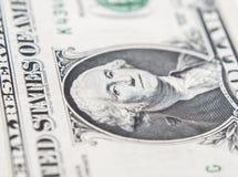 Ritratto della macro di Benjamin Franklin da cento dollari di bil Fotografia Stock