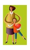 Ritratto della madre e del figlio illustrazione vettoriale