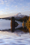 Ritratto della nebbia delle acque di inondazione della montagna Fotografia Stock