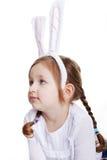 Ritratto della neonata con le orecchie del coniglietto Fotografie Stock Libere da Diritti