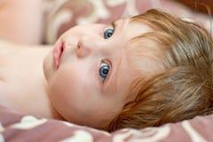 Ritratto della neonata sveglia Fotografia Stock