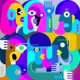 Ritratto della pittura di arti di sei persone illustrazione di stock