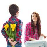 Ritratto della primavera della madre e del figlio il giorno di madri Fotografia Stock