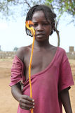 Ritratto della ragazza africana con la candela bruciante in mani Fotografia Stock Libera da Diritti