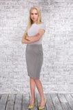 Ritratto della ragazza alla moda su fondo grigio Fotografie Stock Libere da Diritti