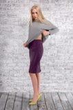 Ritratto della ragazza alla moda su fondo grigio Immagine Stock