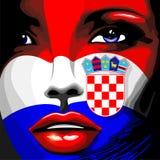 Ritratto della ragazza della bandiera della Croazia bello Immagine Stock