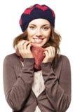 Ritratto della ragazza in berretto e sciarpa Fotografia Stock Libera da Diritti