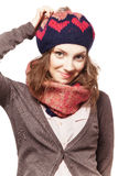 Ritratto della ragazza in berretto e sciarpa Immagine Stock