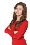 Ritratto della ragazza in camicia rossa Immagini Stock Libere da Diritti