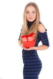 Ritratto della ragazza che dà e che ottiene concetto del regalo Fotografia Stock